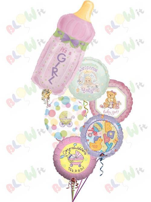 It S A Baby Girl Bottle Balloon Bouquet