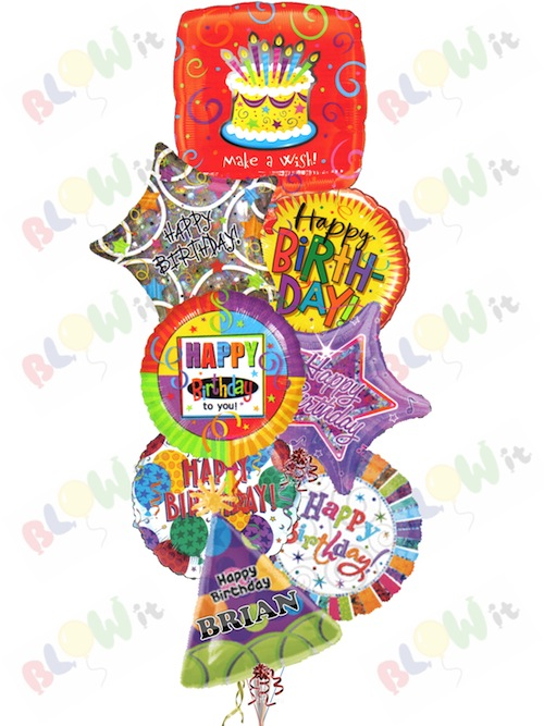Birthday Bash 8 X 18 Helium Filled Assorted Foil Balloons 4995