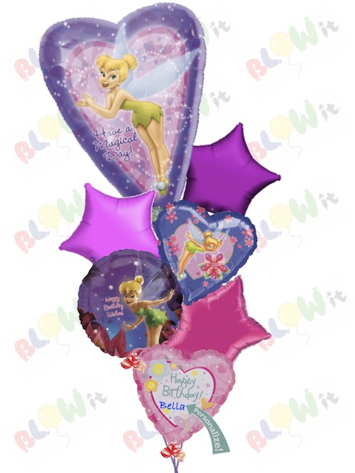 Tinkerbell Magical Fairies Birthday Balloon Bouquet For Delivery In