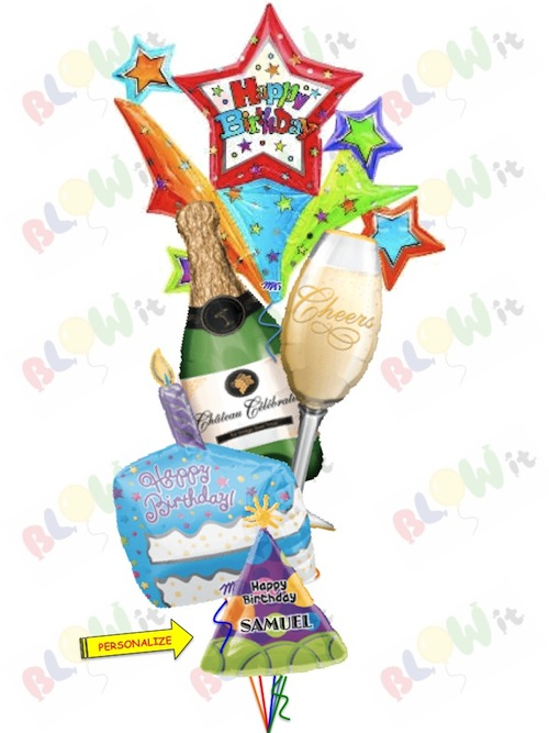 Bubbly Birthday Champagne Bottle And Glass 1 X 18 Personalized Hat Cake Jumbo Starburst 6387